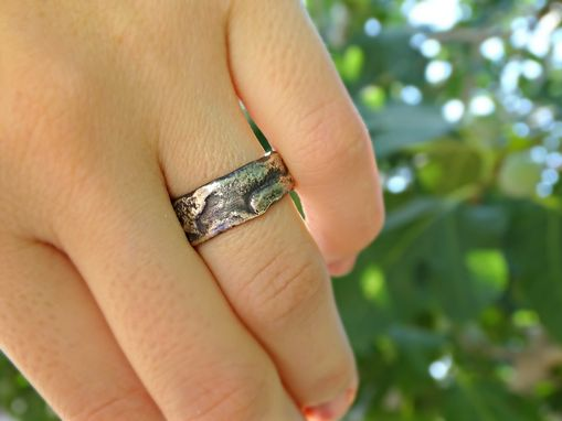 Custom Made Molten Silver Ring Richly Structured, Unique Mens Ring Alternative Wedding Band Silver