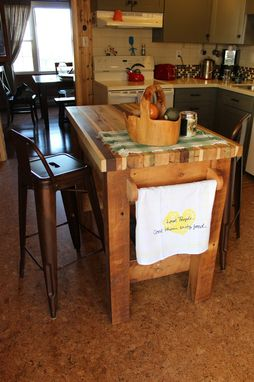 Custom Made Butcher Block Kitchen Island From Reclaimed Hardwood