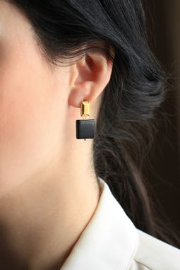 Custom Made Petite Petal Gold Studs With Black Onyx