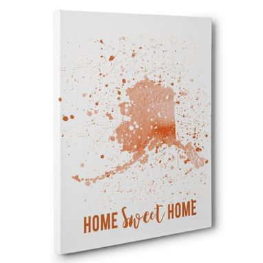 Custom Made Watercolor Paint Splatter Alaska Canvas Wall Art