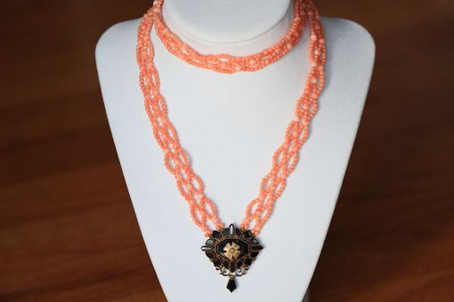 Custom Made Victorian Hand Woven Coral & Black Onyx Sautoir Necklace