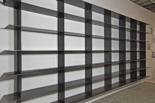 Custom Made Minimal Blackened Steel Shelves.