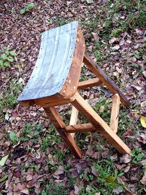 Custom Made Shinto Stool Made With Reclaimed Wood And Salvaged Metal