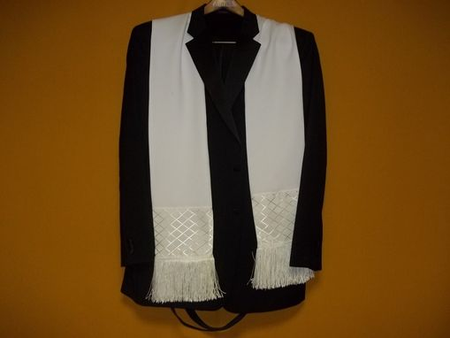 Custom Made White Mans Dress Scarf For The Tux, A Night Out Or Everyday. Hand Made For The Well Dressed Man