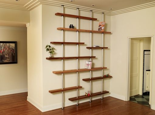 Custom Made Oak And Aluminum Adjustable Shelving Unit
