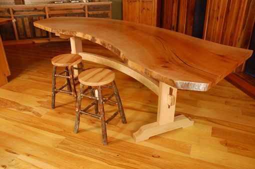 Custom Made Sycamore Live Edge Slab Dining Table
