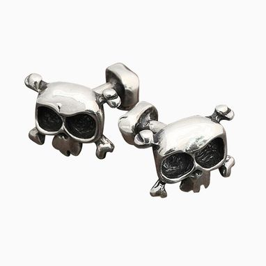 Custom Made Skull Cufflinks In Sterling Silver
