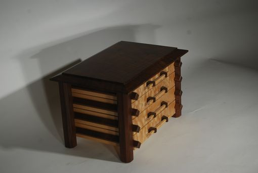 Custom Made Pagoda Style Jewelry Box In Quilted Maple And Claro Walnut
