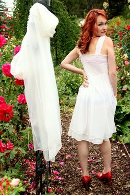 Custom Made Vintage 50s Slip Gown And Robe Peignoir Set Of Double Chiffon And Pom Poms Pin Up Lingerie