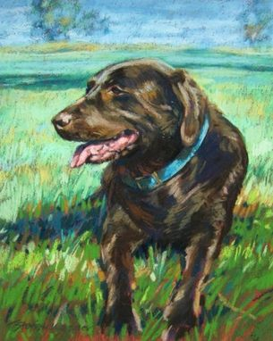 Custom Made Pet Portrait Of A Brown Lab Relaxing In A Field.12 X 9 Inches
