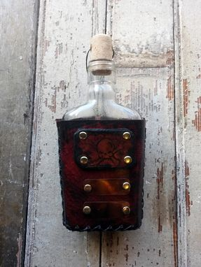 "Custom Made ""Pick Your Poison"" Leather Covered Flask"