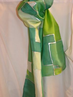 Custom Made Geometric - Hand Dyed Silk Scarves. Green