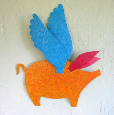 "Custom Made Handmade Upcycled Metal Flying Pig Wall Art Sculpture ""When Pigs Fly''"