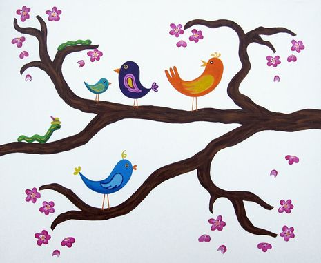 Custom Made Birds In A Cherry Blossom Tree Wall Art For Baby Nursery / Kids Room Painting (Not A Print)