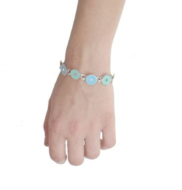 Custom Made Sterling Silver Toggle Bracelet In Pastel Green And Pastel Blue - Handmade
