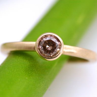 Custom Made Pinkish Brown Diamond Solitare Ring