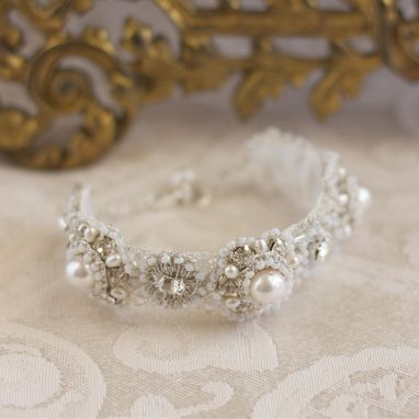 Custom Made Diamanta Bracelet And Matching Earrings | Pearl, Lace Bridal Cuff And Studs