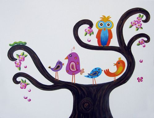 Custom Made Children Wall Art / Baby Nursery Decor - Birds And Owl In A Tree Painting (Not A Print)