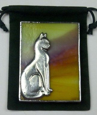 Custom Made Stained Glass Pocket Or Purse Mirror / Cat Design (G-3)