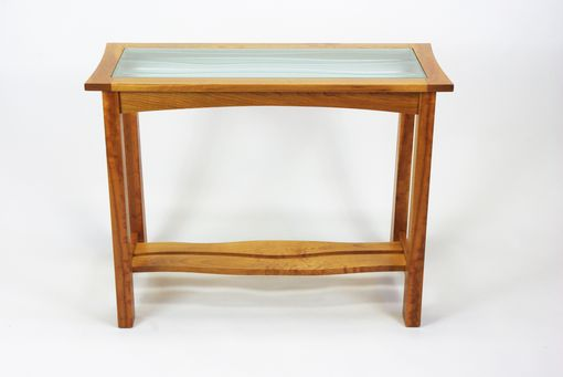 Custom Made Carved Glass Top Hall Table