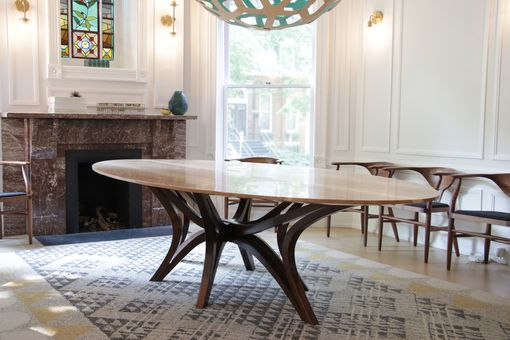 Custom Made Ash And Walnut Mid Century Modern Dining Table