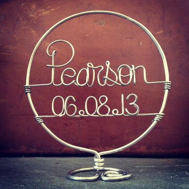 Custom Made Simply Classy Personalized Wedding Cake Topper With Date