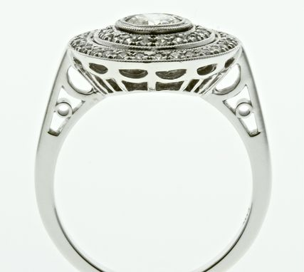 Custom Made Art Deco Inspired Diamond Engagement Ring