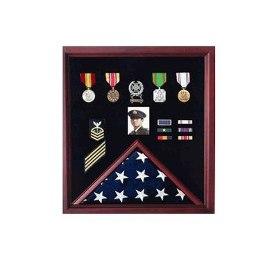 Custom Made Flag And Medal Display Case