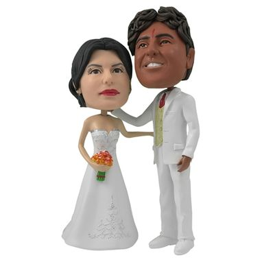 Custom Made Personalized Wedding Cake Topper Of A Couple In White