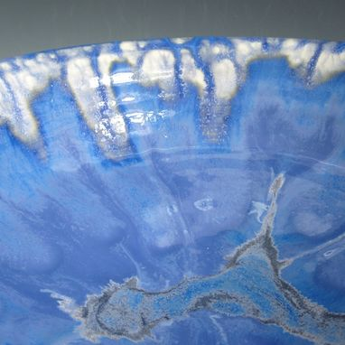 Custom Made Large Pottery Serving Bowl In Blue And White