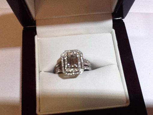Custom Made Emerald Cut Diamond With Double Halo And Two Matching Wedding Bands