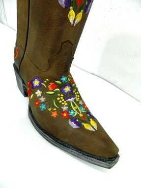 Custom Made Colorful Floral Embroidery Brown Distressed Leather Cowgirl Boots Made To Order