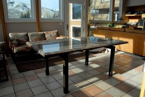 Custom Made Steel And Stone Dining Table