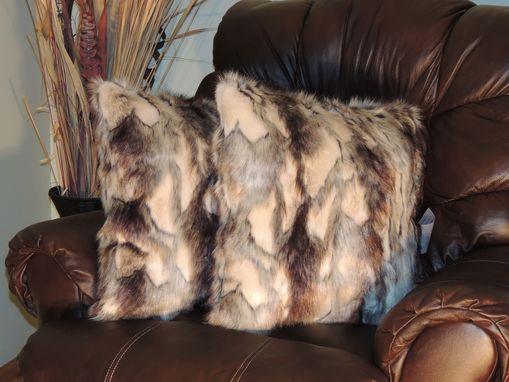 Custom Made Brandy Fox Silver Faux Fur 18 X 18 In. Decorative Pillow - Set Of 2