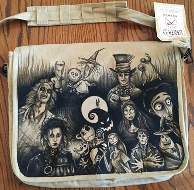 Custom Made Tim Burton Hand Drawn Messenger Bag Any Design You Like!