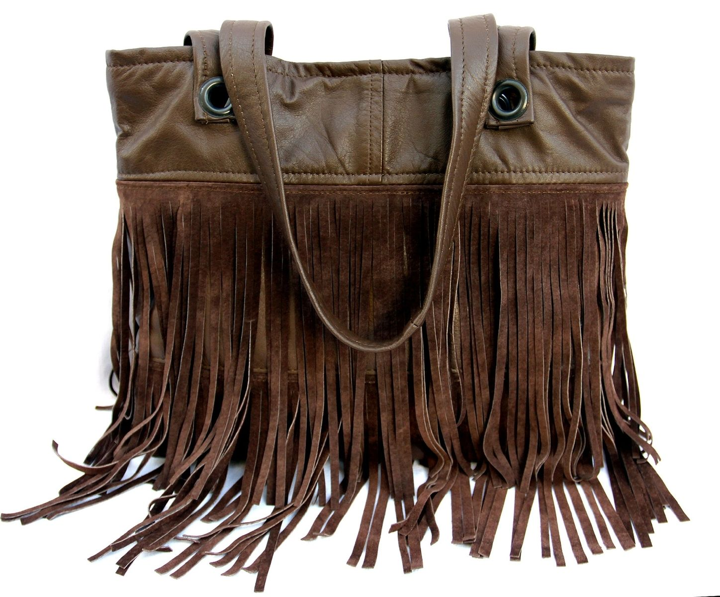 Custom Made Upcycled Leather Fringe Tote Fler In Brown Suede