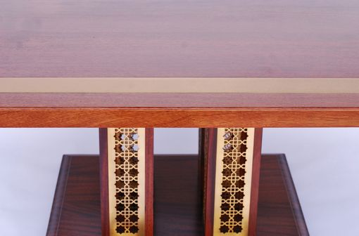 Custom Made African Mahogany Dining Table With Brass Inlay