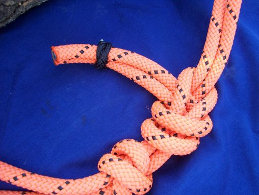 Custom Made Rope Halter With Braided Nose Band In Orange And Black 1/4 Inch Rope (Many Other Colors Availalble)