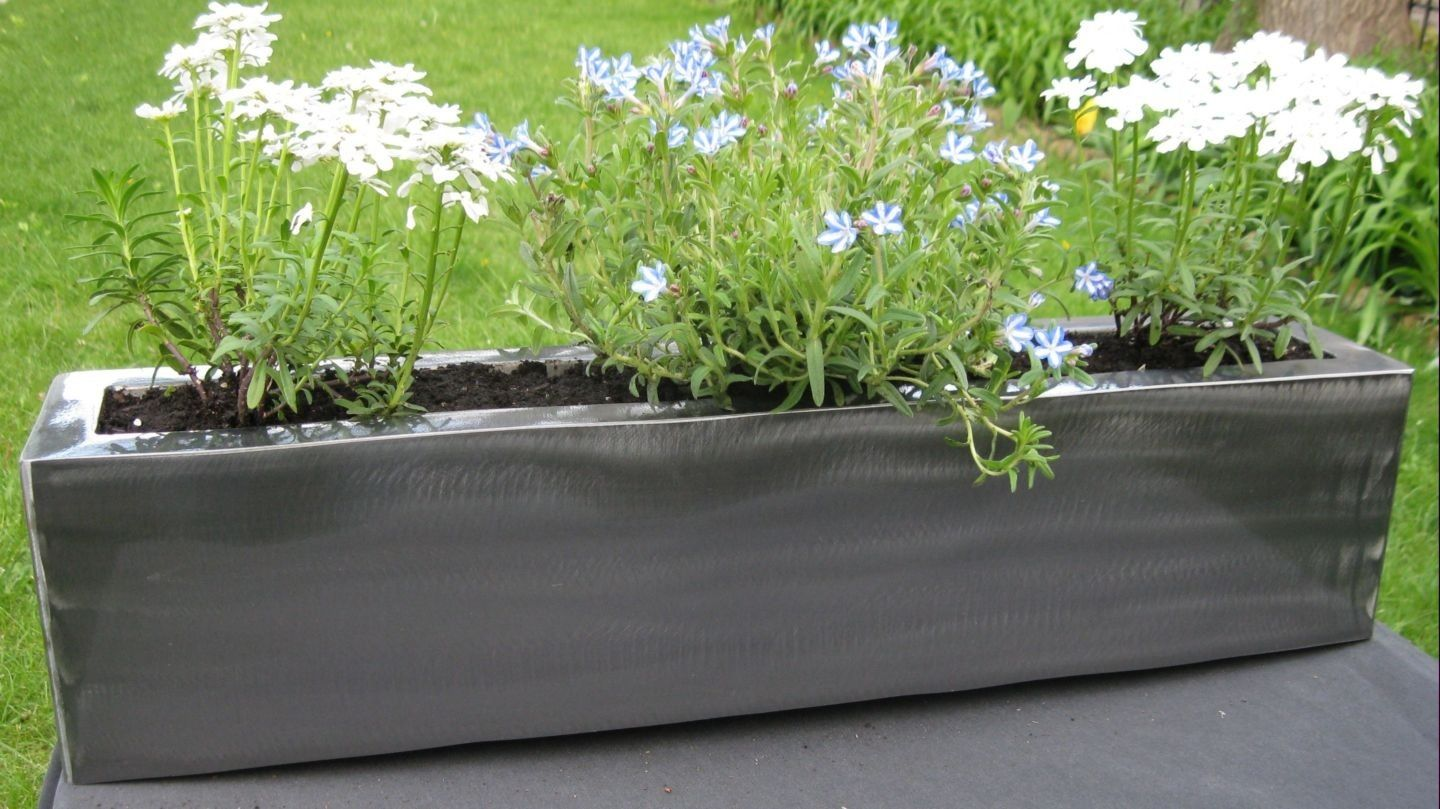 custom made modern steel planter. handmade modern steel planter by bader art metal  fabrication