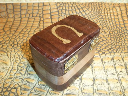 Custom Made Walnut Keepsake Box With Horse Shoe Inlay