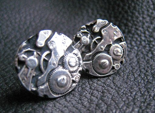 Custom Made Watch Gears Cufflinks In Sterling Silver- Difference Engine - Steampunk