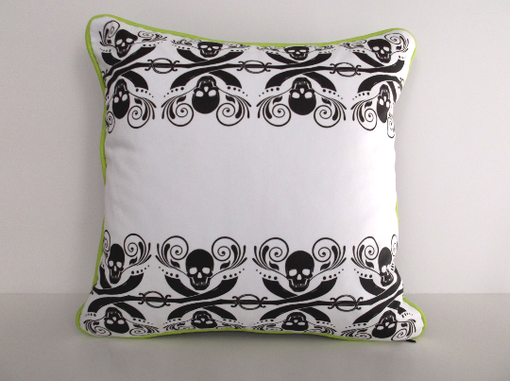 Custom Made Pirate Inspired Halloween Pillow Cover With Skulls