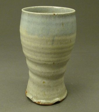 Custom Made Handmade Tall Cup With Wood Ash Nuka Glaze And Coblat Blue Drips, (Sku 49)