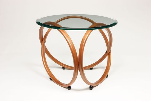 Custom Made Modern Round Glass Top Mahagany Or Alder Infinity Accent / End / Side Table