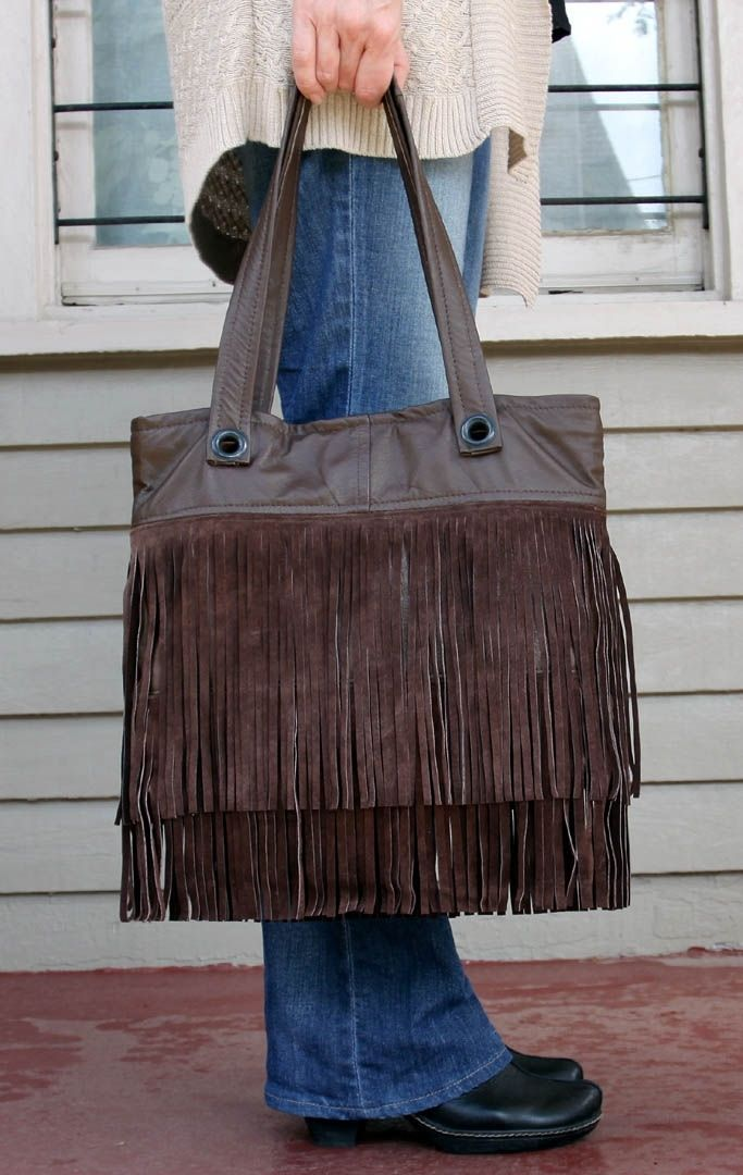 51207beda529 Hand Crafted Upcycled Leather Fringe Tote - Flapper Fringe Tote In Brown  Suede by Uptown Redesigns