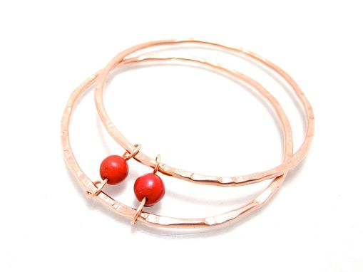 Custom Made Copper Red Bead Bangle - Red Turquoise Bracelet - Hammered Copper Bangle Set - Set Of 2 Bangles
