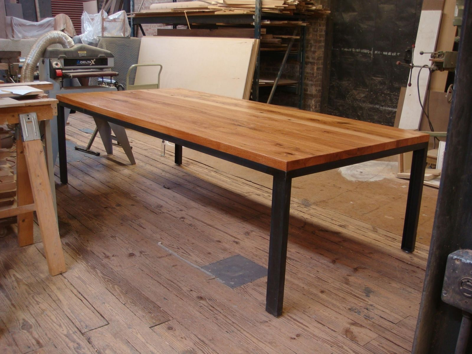 Reclaimed Oak Dining Table Custom Dining Table Base Structural Steel And Reclaimed Oak By