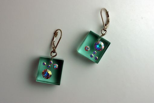 Custom Made Green Lucite Ice Cube Earrings