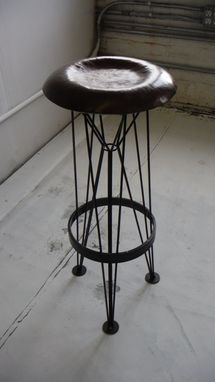 Custom Made Hammered Steel Stool.