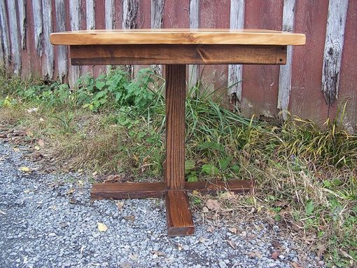 Custom Made Butcher Block Kitchen Table With Reclaimed Wood Pedestal Base